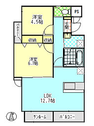 PRIJON高田(プリヨン高田)[301号室]の間取り