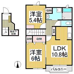 長野県佐久市新子田の賃貸アパートの間取り