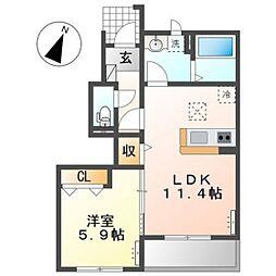 JR宇野線 妹尾駅 徒歩4分の賃貸アパート 1階1LDKの間取り