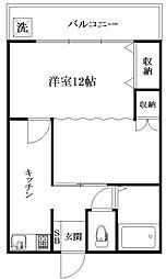 緑ヶ丘マンションB[207号室]の間取り