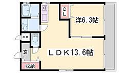 アジェント北野 2階1LDKの間取り