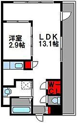 西鉄貝塚線 西鉄香椎駅 徒歩3分の賃貸マンション 4階1LDKの間取り