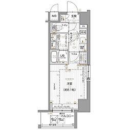 名古屋市営名城線 東別院駅 徒歩7分の賃貸マンション 9階1Kの間取り