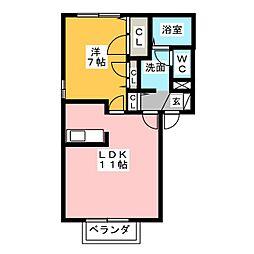 コーポシャローム[1階]の間取り