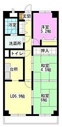 スカール富田公園[206号室]の間取り