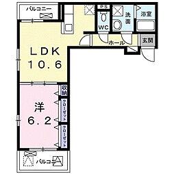 名古屋市営名城線 茶屋ヶ坂駅 徒歩14分の賃貸アパート 3階1LDKの間取り