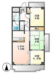 アミティ中村[2階]の間取り