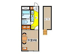 東京都府中市四谷2丁目の賃貸アパートの間取り