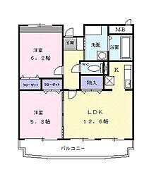 東京都清瀬市中清戸3丁目の賃貸マンションの間取り