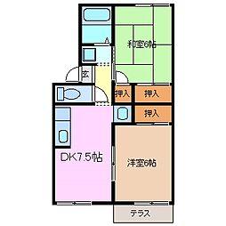 三重県四日市市天カ須賀1丁目の賃貸アパートの間取り