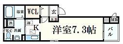 JR東海道・山陽本線 摂津本山駅 徒歩7分の賃貸マンション 1階1Kの間取り