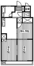 桜園ハイツ[208号室]の間取り
