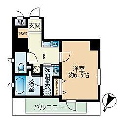 福岡市地下鉄七隈線 渡辺通駅 徒歩4分の賃貸マンション 2階1Kの間取り
