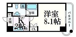 阪神本線 岩屋駅 徒歩3分の賃貸マンション 6階1Kの間取り
