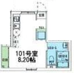 東急東横線 学芸大学駅 徒歩12分の賃貸マンション 1階ワンルームの間取り