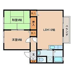 奈良県大和郡山市天井町の賃貸アパートの間取り