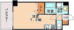 JR鹿児島本線 竹下駅 徒歩10分の賃貸マンション 6階ワンルームの間取り