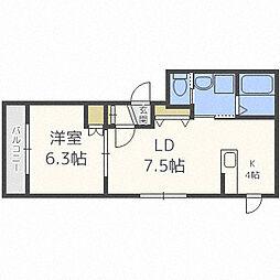 札幌市営南北線 幌平橋駅 徒歩10分の賃貸マンション 3階1LDKの間取り