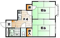 福岡県北九州市戸畑区境川1丁目の賃貸マンションの間取り