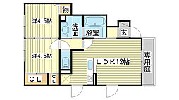 Villa正門通B棟[101号室]の間取り