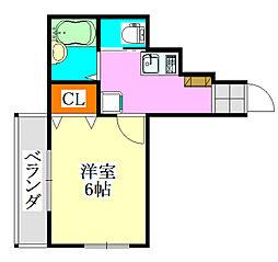 前原ハウス[1号室]の間取り