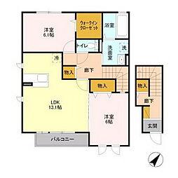 茨城県水戸市河和田町の賃貸アパートの間取り