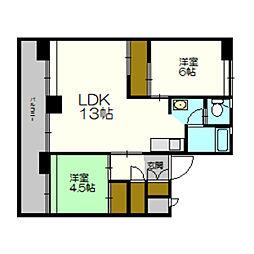 北海道札幌市厚別区上野幌一条2丁目の賃貸マンションの間取り