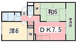 兵庫県姫路市白浜町字北浜丙の賃貸アパートの間取り