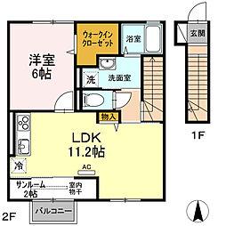 (仮称)D-room桜谷[202号室]の間取り