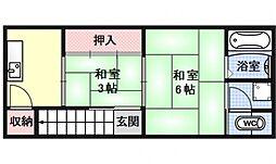 土屋町荘[2F号室号室]の間取り
