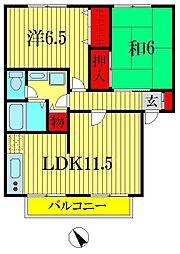 パストラルガーデンA・B棟[1階]の間取り