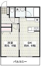 ルナージュ弐番館 2階1DKの間取り