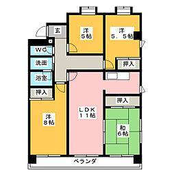 セゾン桜[3階]の間取り