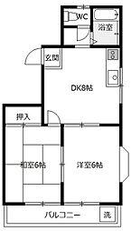 ハイツ栄光[2階]の間取り