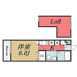 JR総武本線 都賀駅 徒歩9分の賃貸アパート 2階1Kの間取り