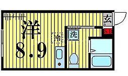 東京メトロ日比谷線 北千住駅 徒歩5分の賃貸マンション 3階ワンルームの間取り
