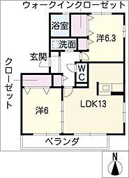 愛知県日進市米野木台5丁目の賃貸アパートの間取り