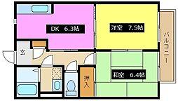 兵庫県姫路市別所町佐土1丁目の賃貸アパートの間取り