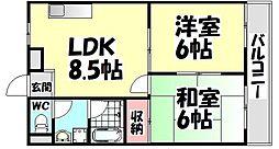 大阪府堺市西区浜寺南町3丁の賃貸マンションの間取り