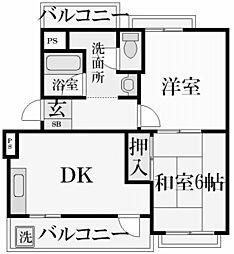香櫨園ヴァンテカトル[4階]の間取り