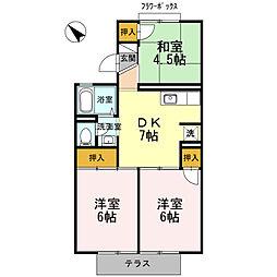 大阪府和泉市富秋町3丁目の賃貸アパートの間取り