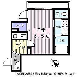 東京メトロ銀座線 表参道駅 徒歩8分の賃貸マンション 2階1Kの間取り