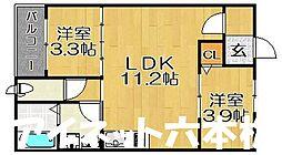 福岡市地下鉄七隈線 賀茂駅 徒歩5分の賃貸アパート 1階2LDKの間取り