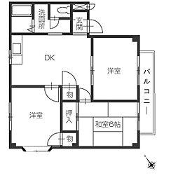 フォブール福岡[2階]の間取り