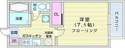 仙台市地下鉄東西線 川内駅 徒歩11分の賃貸アパート 1階1Kの間取り