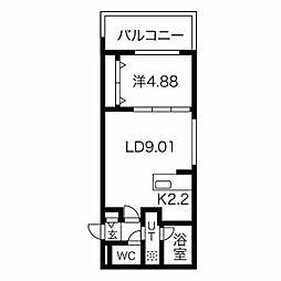癒禅32 3階1LDKの間取り