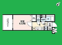 サヴォイ ラ・ピエル サフィール 13階1Kの間取り