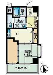 福岡県福岡市中央区荒戸3丁目の賃貸マンションの間取り