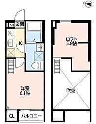 東京都東村山市本町3丁目の賃貸アパートの間取り