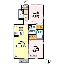バス 福富西2丁目下車 徒歩9分の賃貸アパート 1階2LDKの間取り